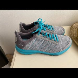 Grey and Teal ABEO Tennis Shoes